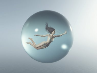 Woman floating  in a bubble