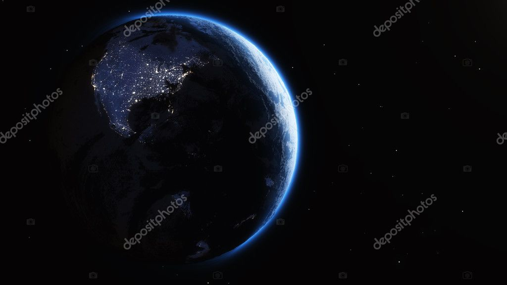 earth from space and cities lights.