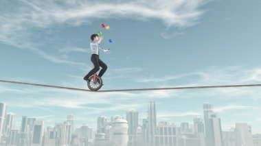 business man riding unicycle
