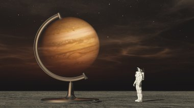 Astronaut in space looking on  jupiter globe.