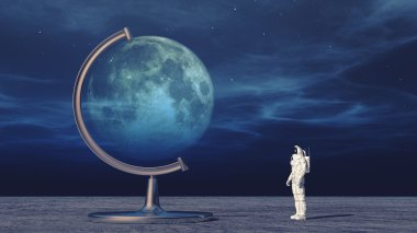 Astronaut in space looking on  moon globe