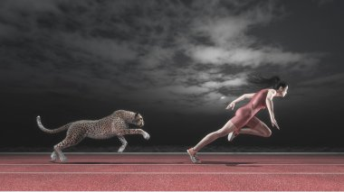 Athlete woman competing with a cheetah