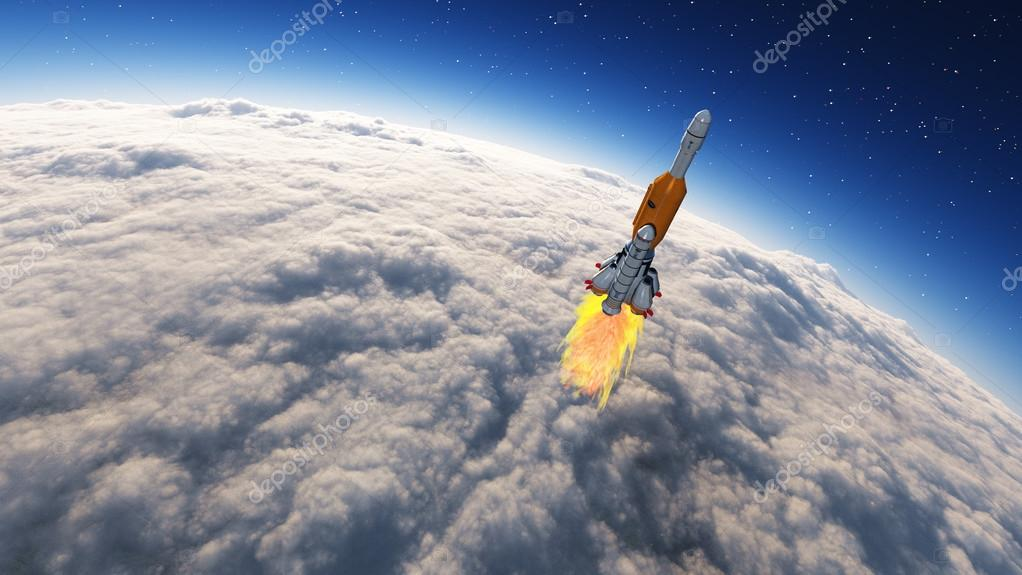 Rocket launched into the space leaving the earth