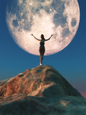 The young female watching the  moon.
