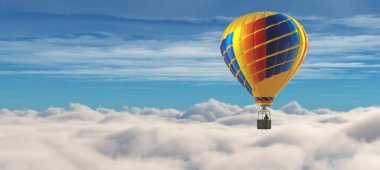 Hot air balloon on a blue sky overclouds. This is a 3d render illustration stock vector