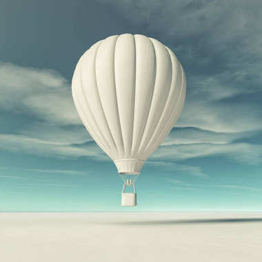 White hot air balloon flying. This is a 3d render illustration stock vector