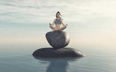 The woman practicing yoga on stone near the sea. This is a 3d render illustration stock vector