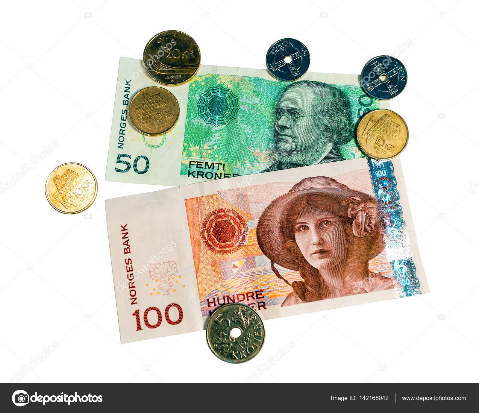Nahaufnahmen Von 50 100 Und Münzen Nok Norwegische Kronen Papier