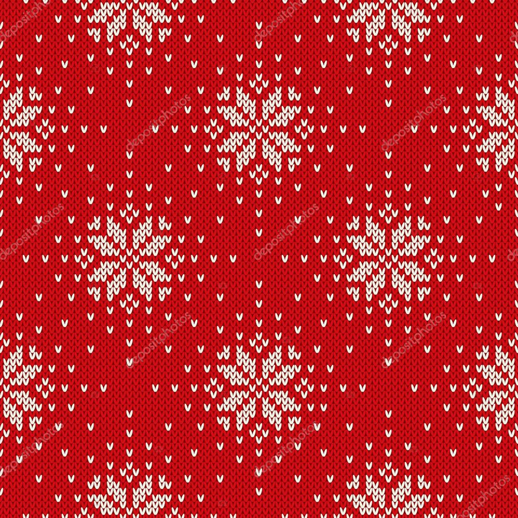 677fcac383fa29 Winter Holiday Knitted Pattern with Snowflakes. Seamless Vector Background  — Stock Vector