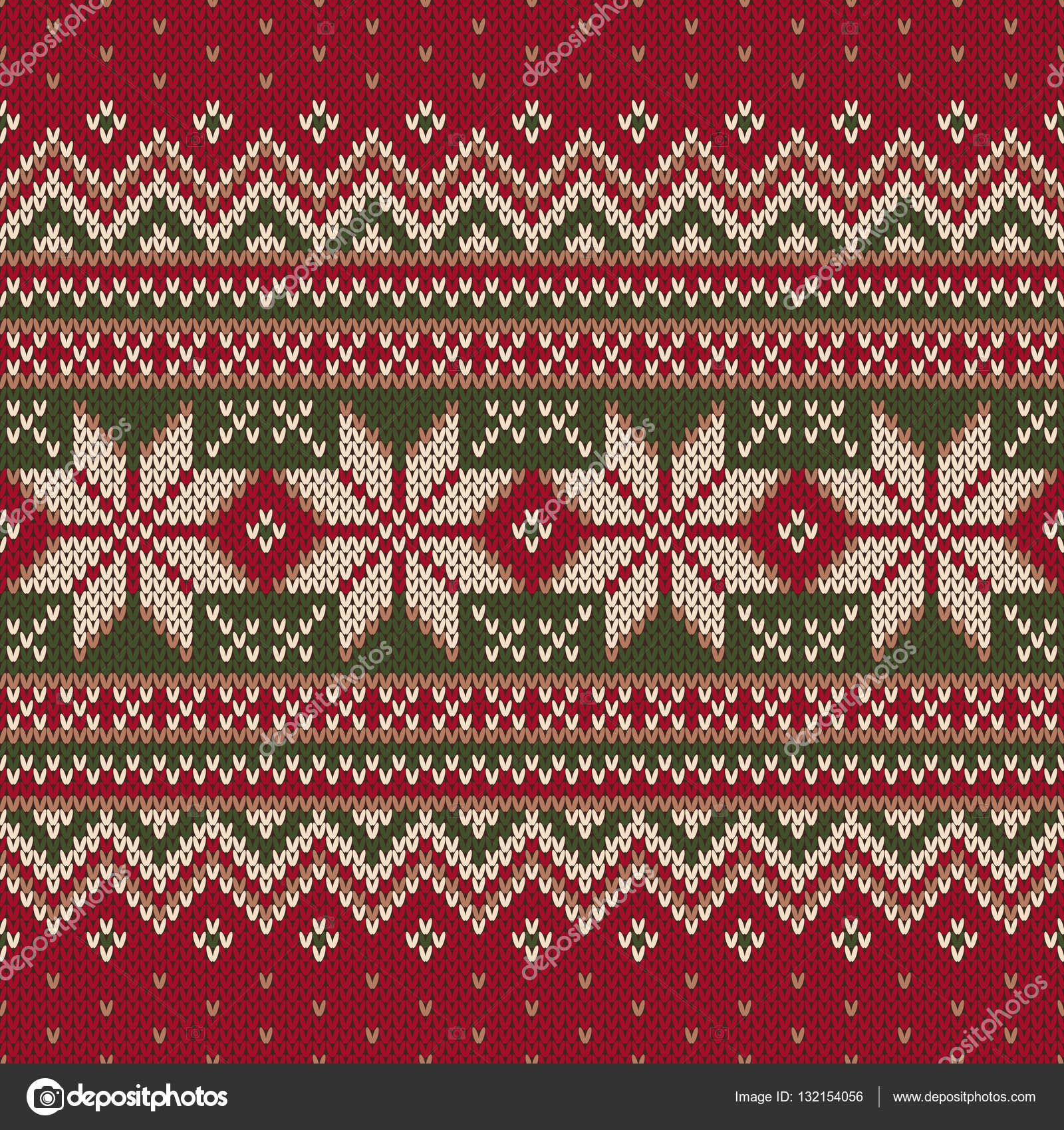 Winter Holiday Fair Isle Knitted Pattern. Vector Seamless Knitting ...