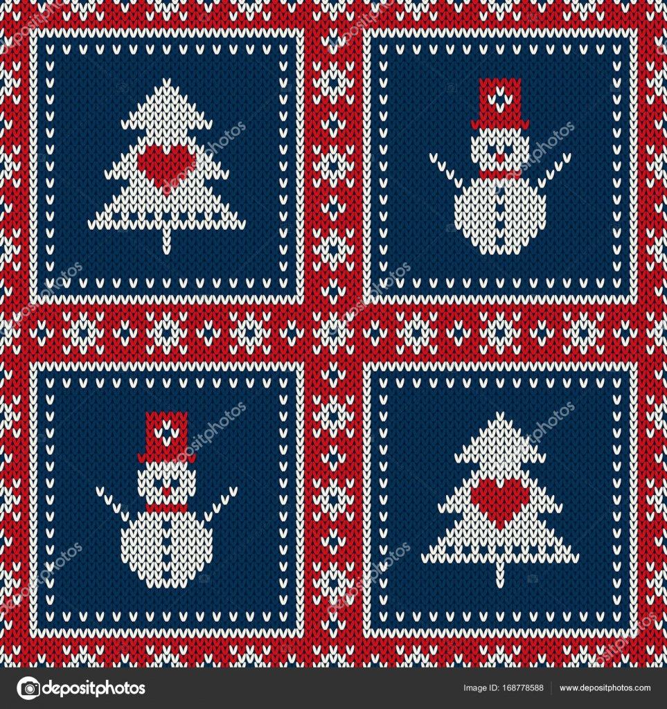 Winter Holiday Seamless Knitted Pattern with a Christmas Tree and ...