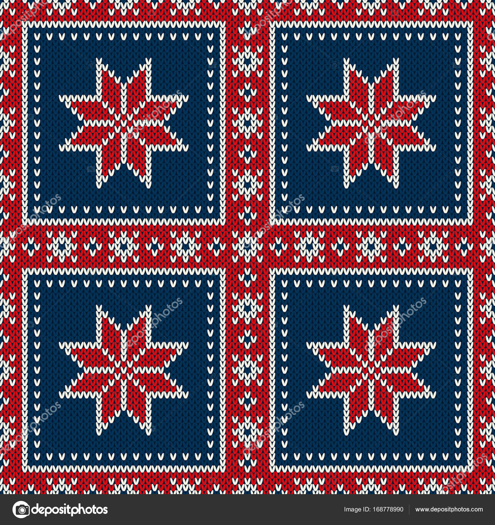 9ec69cdfbd6be Winter Holiday Seamless Knitted Pattern with a Snowflakes. Knitting  Patchwork Style Sweater Design. Wool