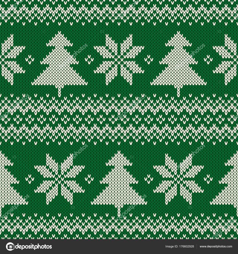 зимний праздник бесшовные вязать узор с елки и снежинки схема для