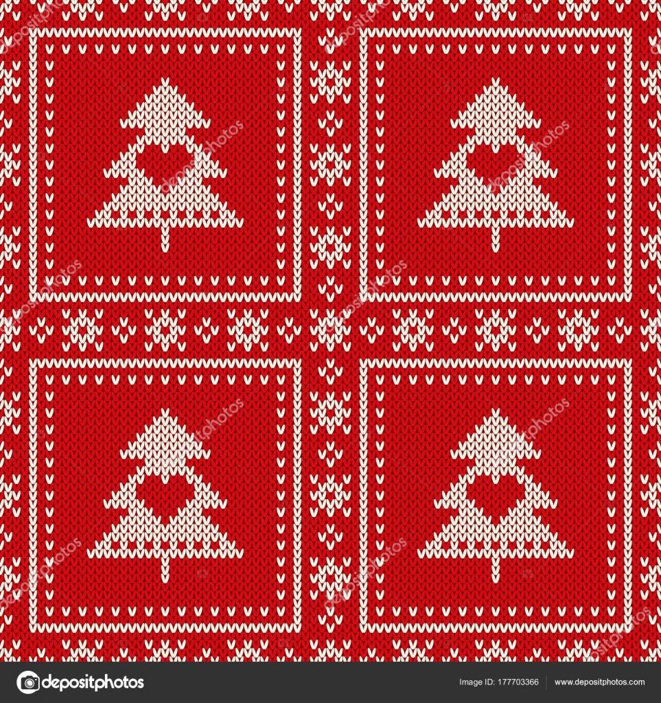Kerst Naadloos Gebreid Patroon Met Een Kerstboom Wol Breien Trui