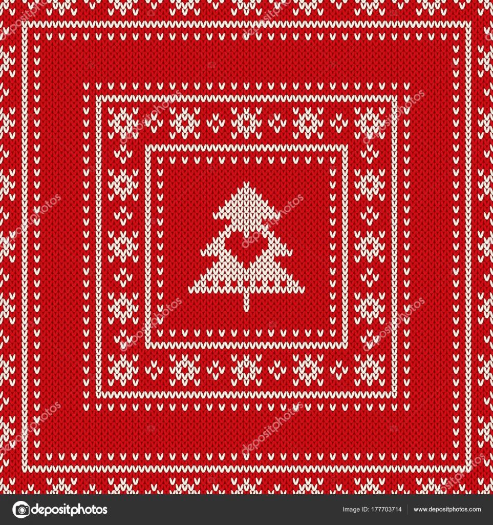 Reticolo con un albero di Natale lavorato a maglia senza