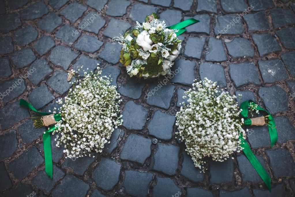 wedding bouquet on the paving stones