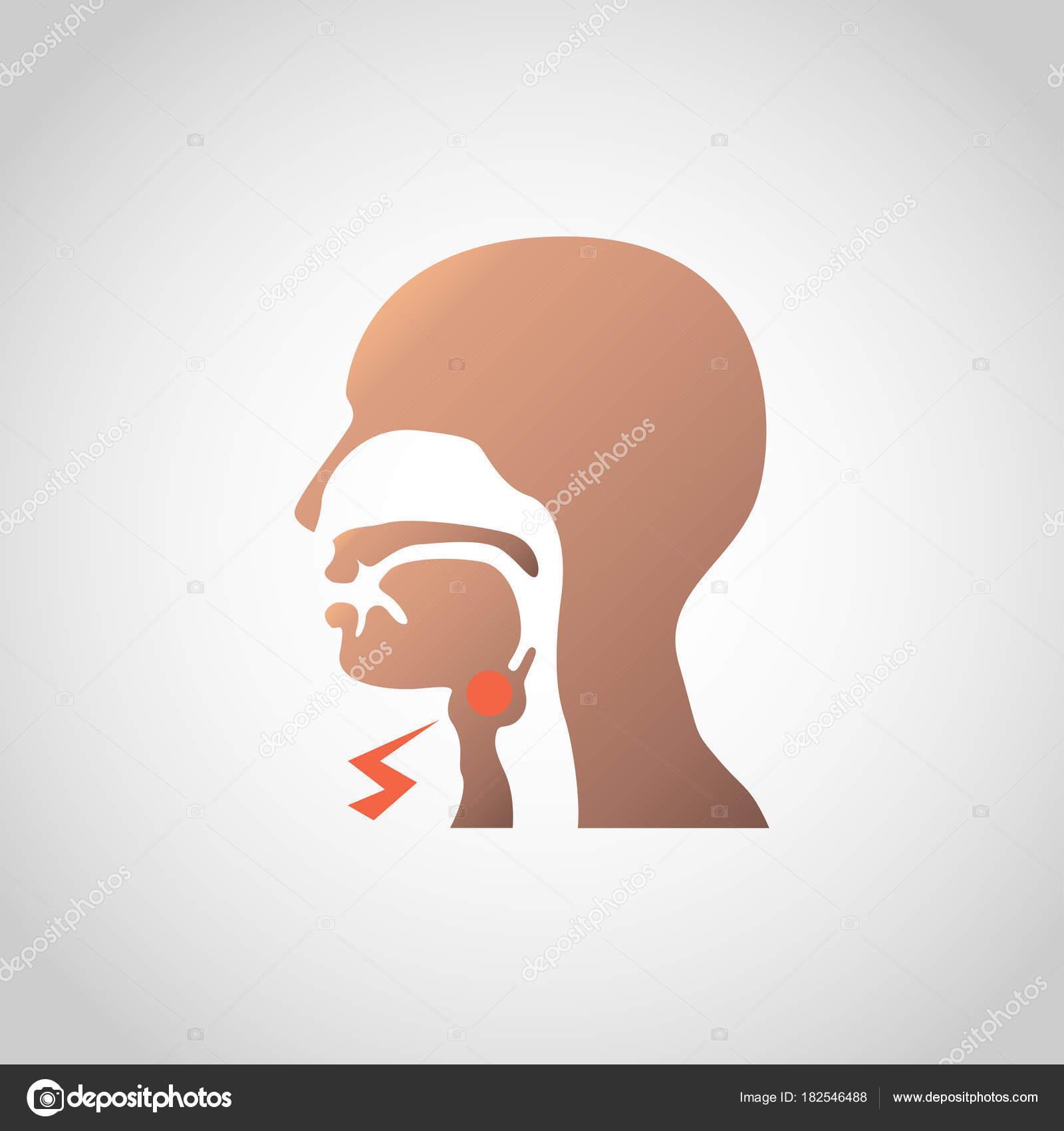 ganglios linfáticos inflamados en el diseño del icono de cuello ...