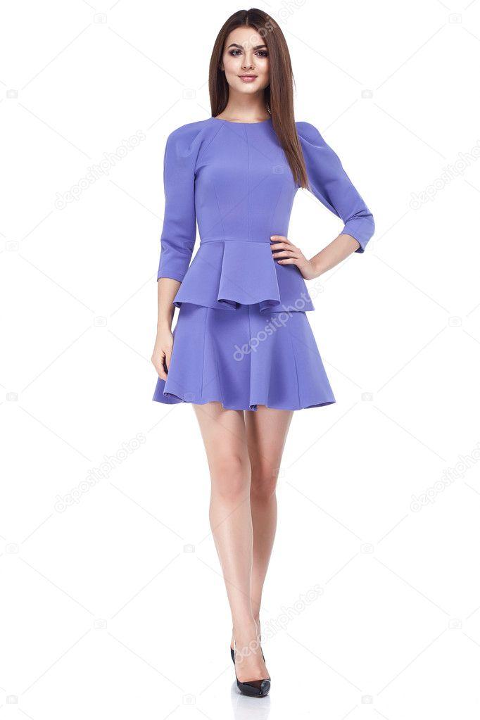 Hermosa mujer morena sexy negocio skinny estilo de vestido — Foto de ...