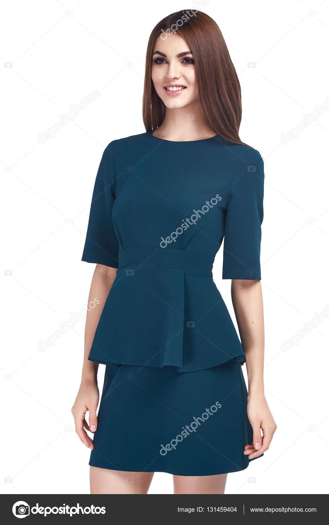 Schönheit Frau Modell tragen stilvolles Design Trend Kleidung blau ...