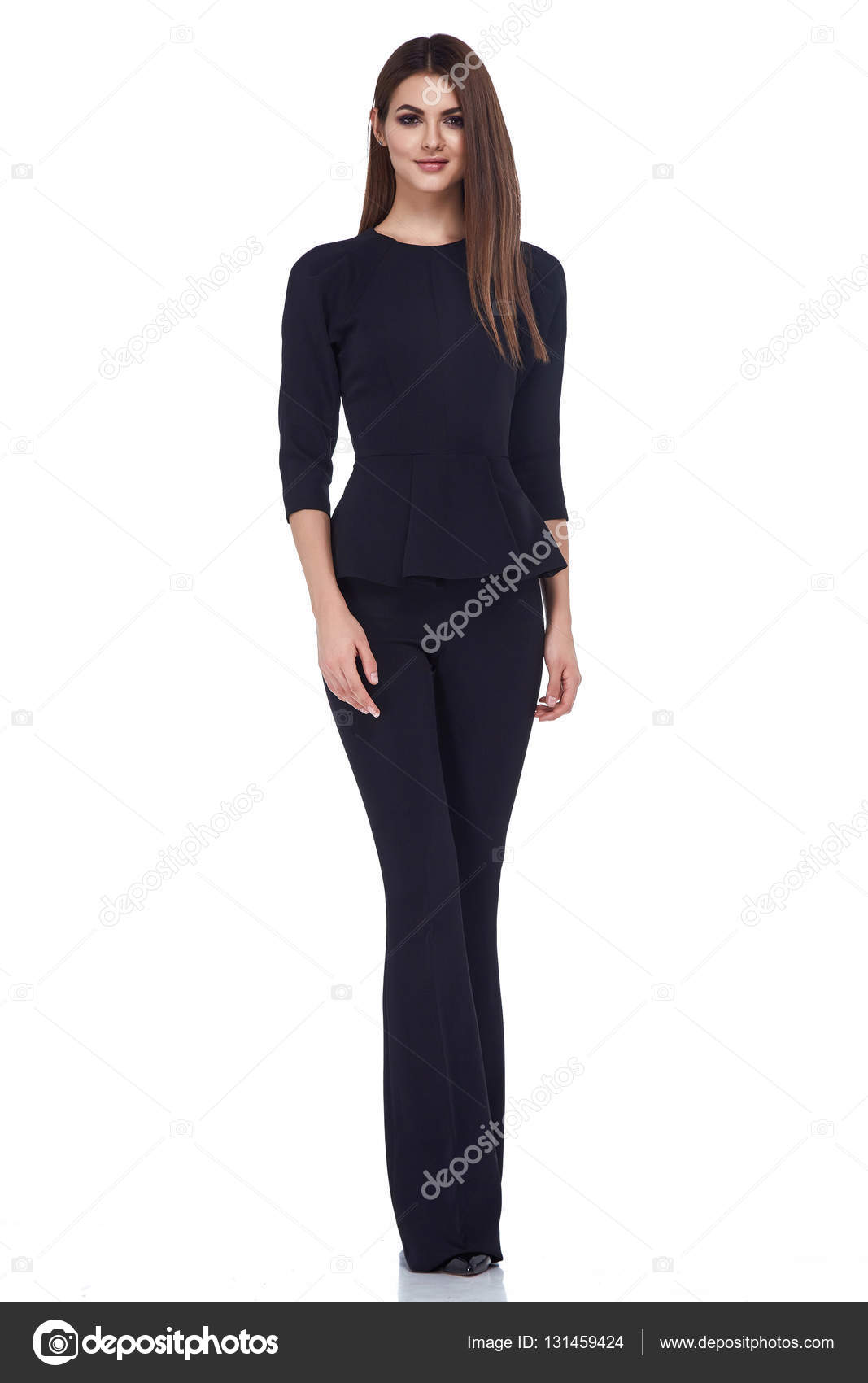 Mode Stil Frau perfekten Körper Form brünette Haare tragen schwarz ...