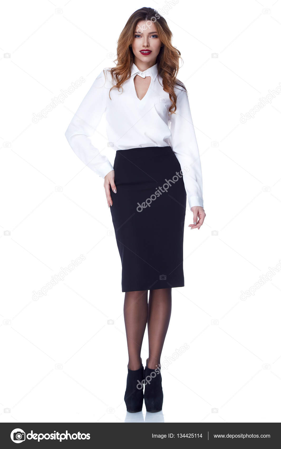 f6eb8bfc2 Beautiful sexy woman fashion clothes for businesswoman office manager style  long blond hair makeup perfect body shape lady wear silk white blouse and  black ...