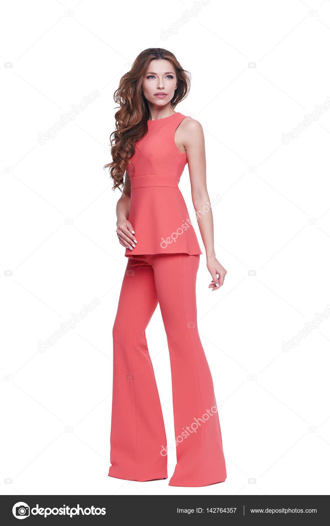 Schöne Glamour sexy Frau dunkle brünette Haare tragen Kleidung ...