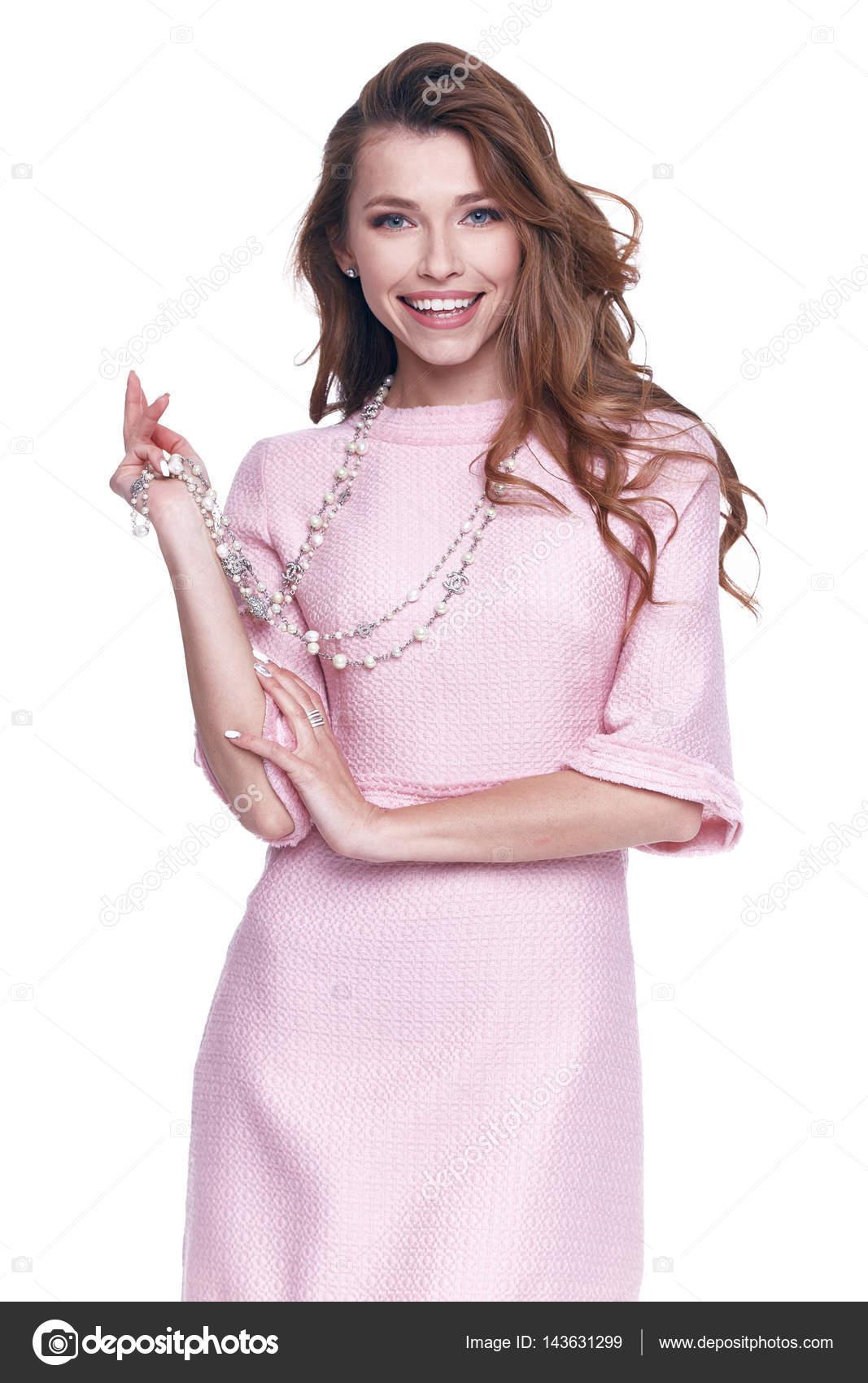 Belleza mujer modelo desgaste diseño elegante ropa rosa Vestido ...