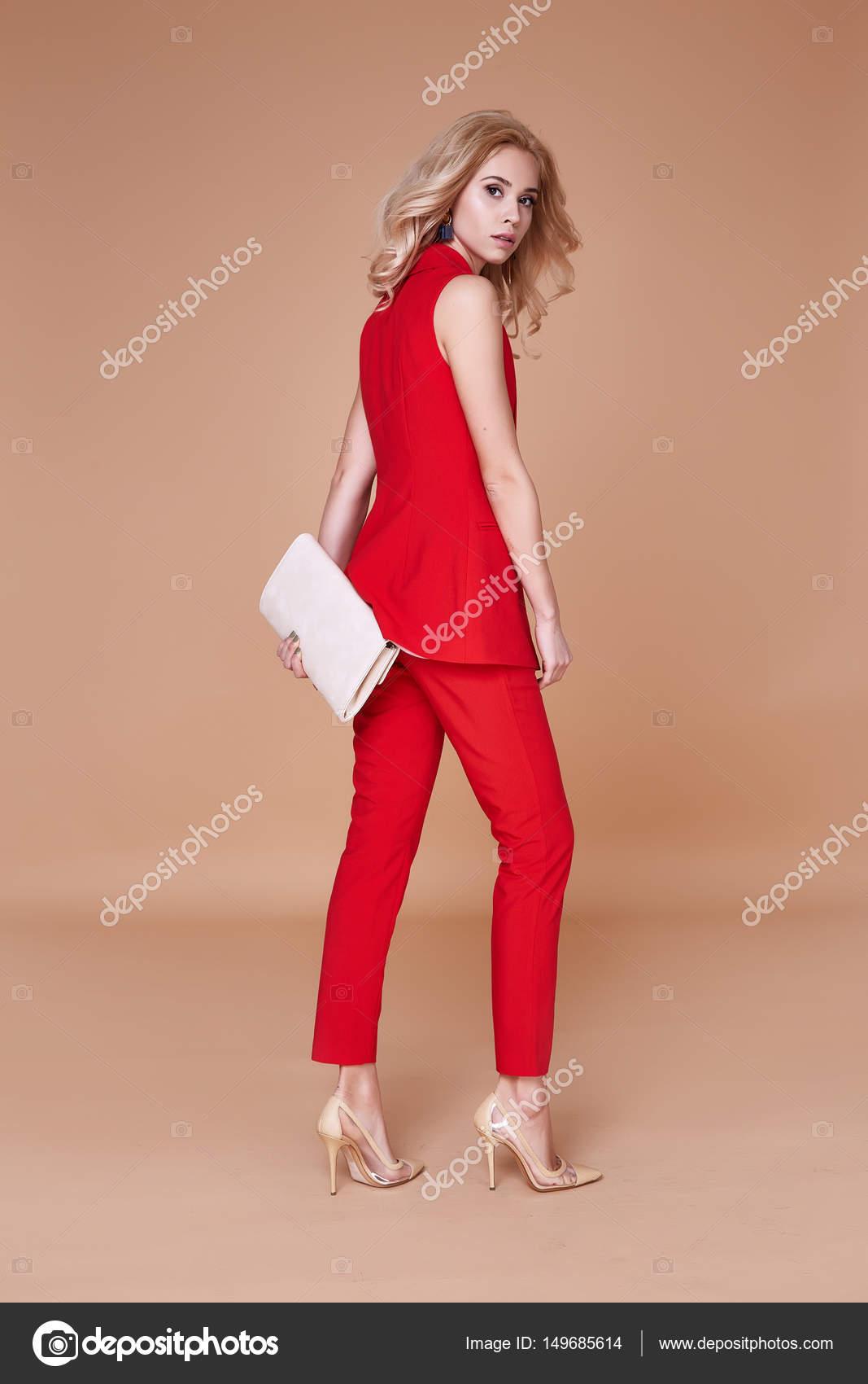 Chica Rojo Traje Guapa Ropa Sexy De Y Hermosa Seda Chaqueta FfrqFn0