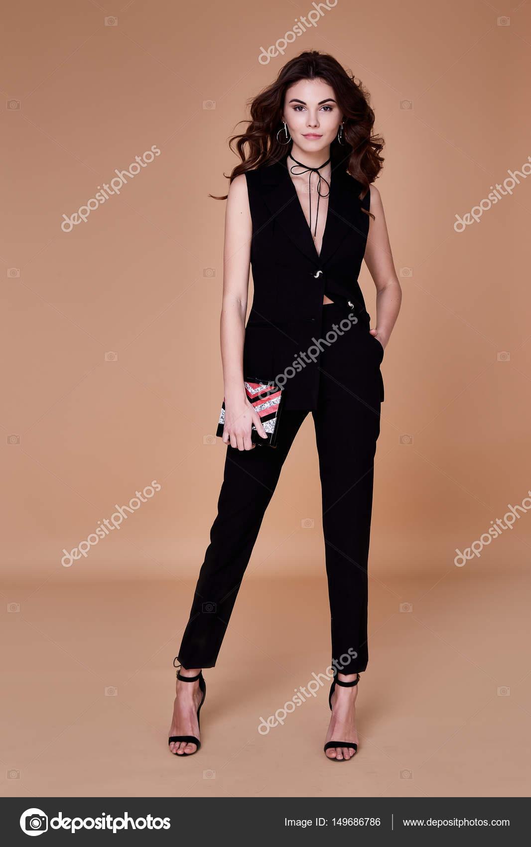 Hermosa Negro Sexy Pantalones Vista Guapa Chica Traje Chaqueta Y De qgwfESz7n
