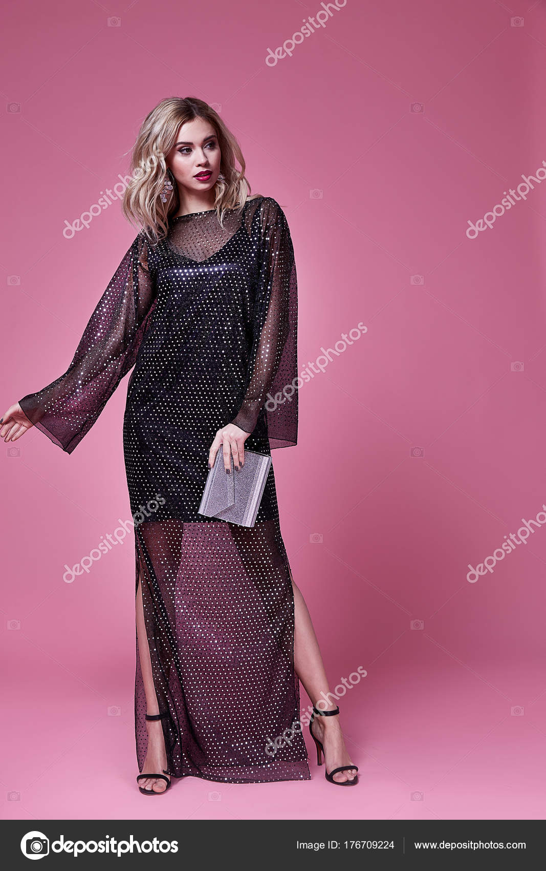 Vestido de mujer sexy hermosa señora desgaste largo negro del ...