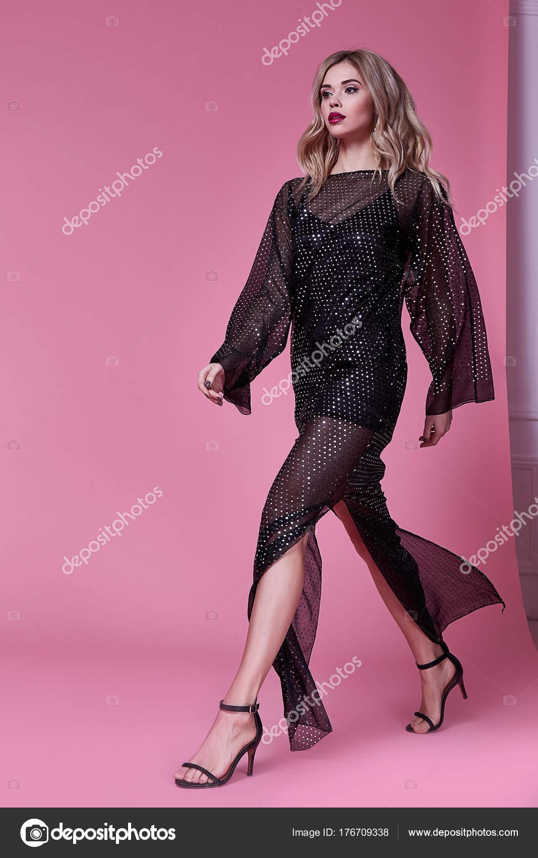 Schöne sexy Frau Dame Verschleiß Modedesignerin langes schwarzes ...