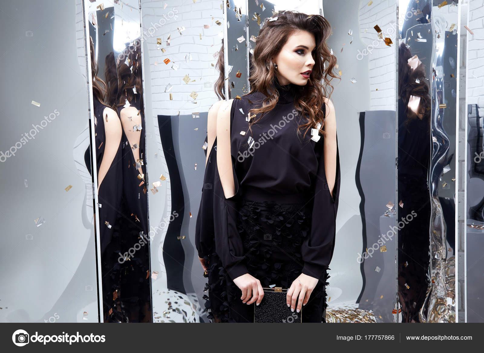 Schöne sexy Frau Verschleiß Luxus schwarz Glanz Pailletten ...
