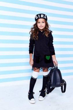 School small baby girl dress for schoolgirl pupil uniform bag be