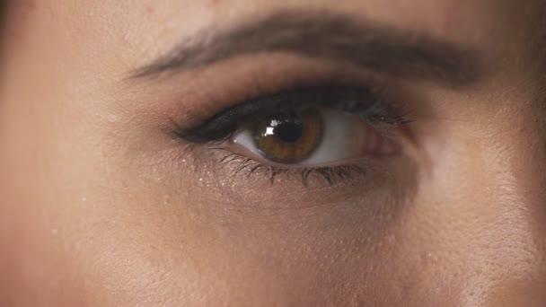 Nahaufnahme der weiblichen Augen schöne helle Make-up Hautpflege kosmetische, Mascara Frau Wimpern flauschige Augenbrauen perfektes Gesicht der Mode sexy Modell Schönheitsprodukte offene Augen.