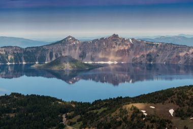 Crater Lake Reflects Rim on Quiet Morning