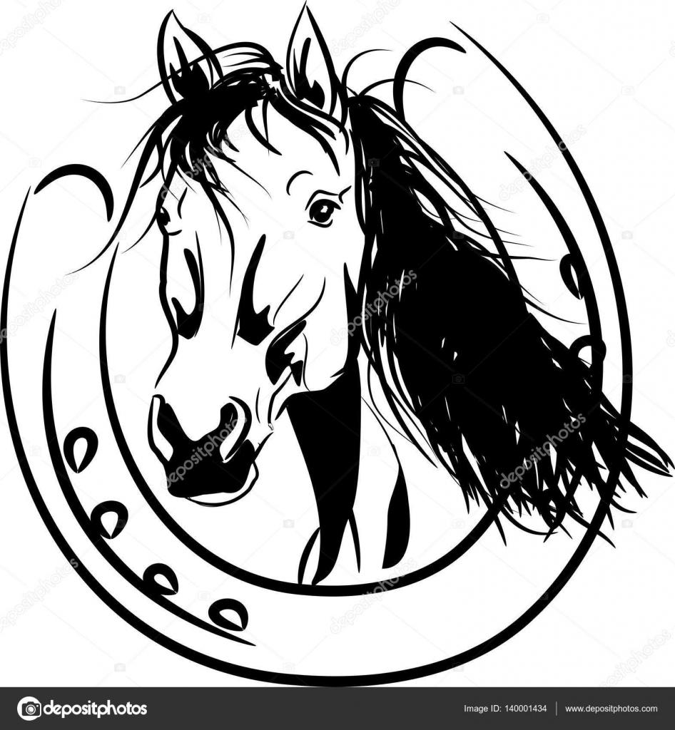 Paard Met Vlechten Kleurplaat Paard Met Hoefijzer Stockvector 169 Sidliks 140001434