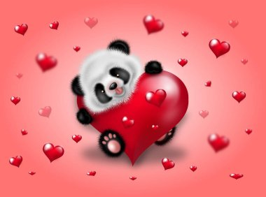 Panda with red hearts
