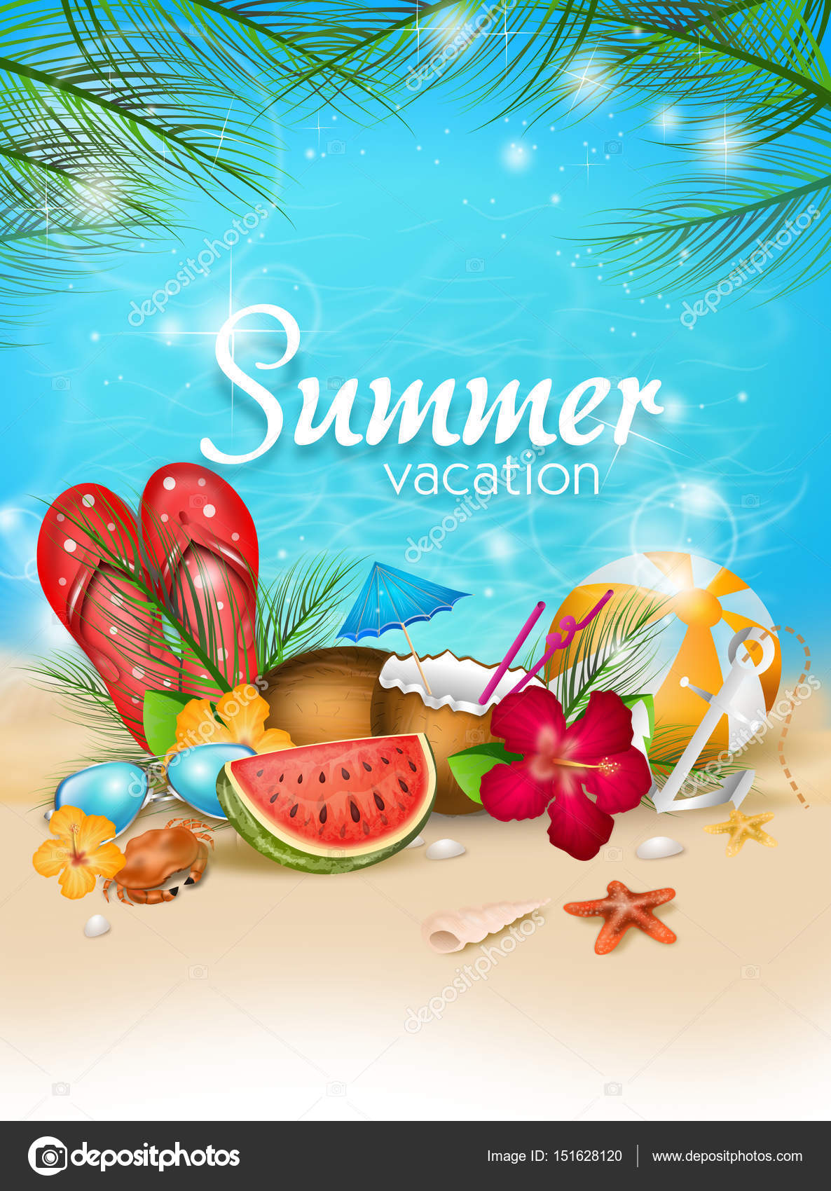 Happy Summer Vacation Stock Photo