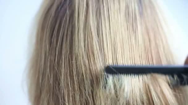 Detailní záběr na zadní části hlavy s dlouhými vlasy je česaná
