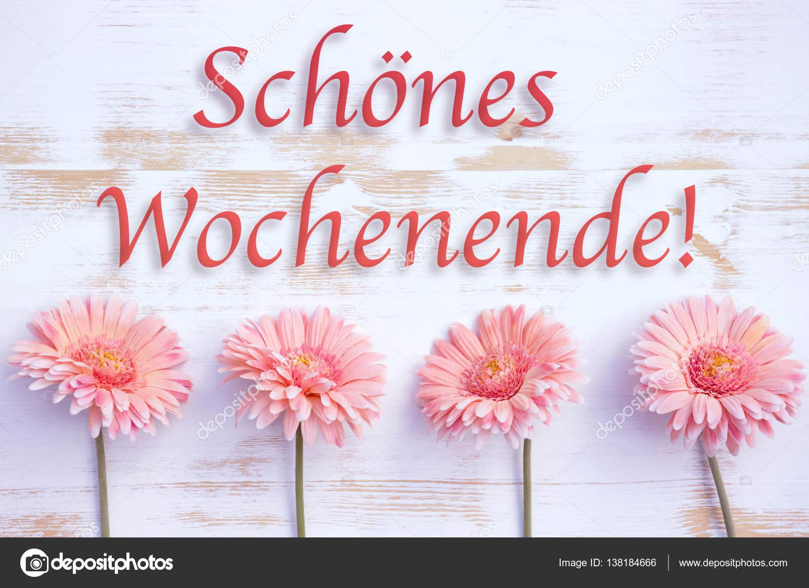 Mutlu Hafta Sonu Pembe Gerbera Ile Almanca Kelimeler Stok
