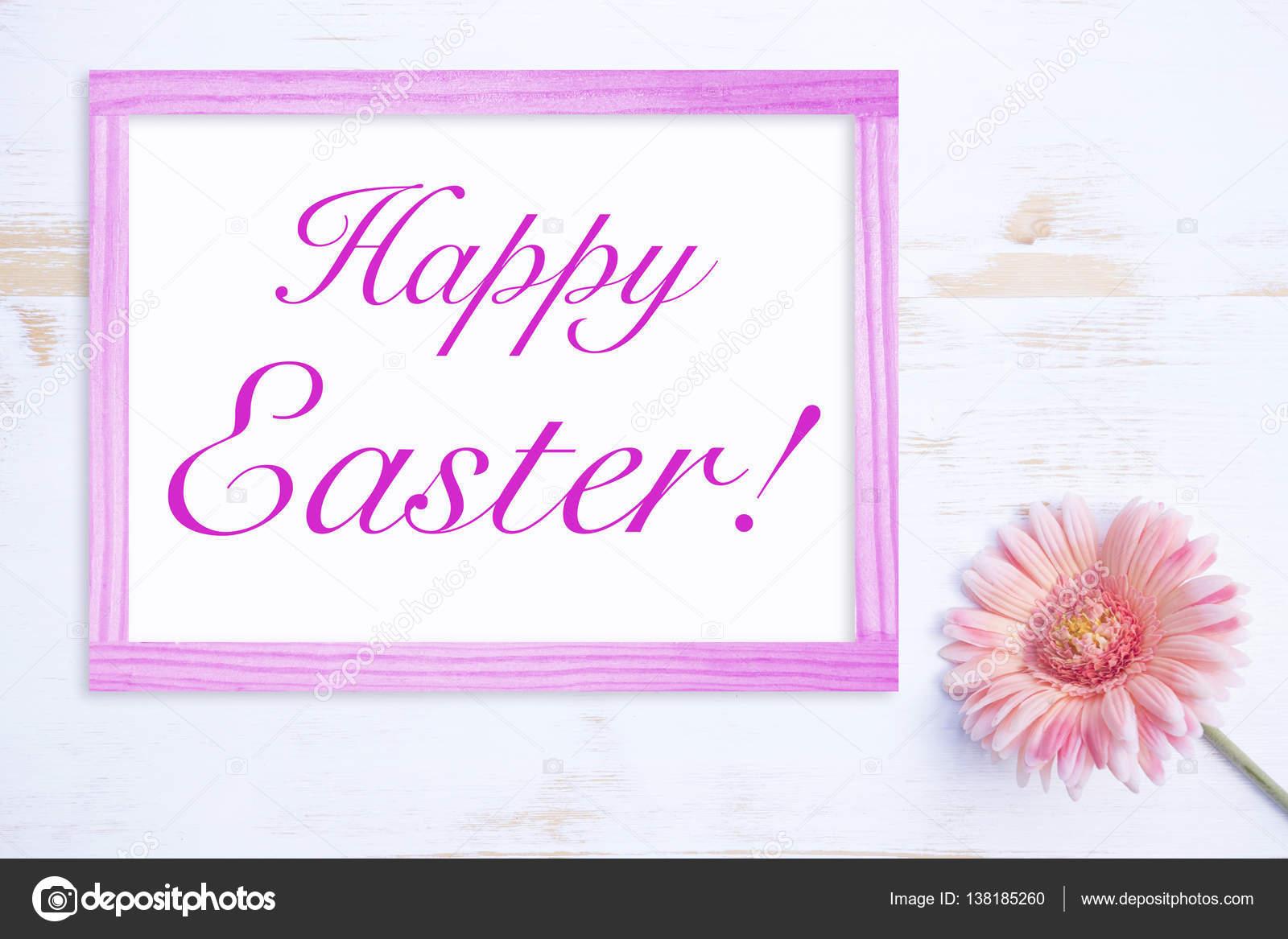 rosa Blume mit Rahmen und Worte Frohe Ostern — Stockfoto ...
