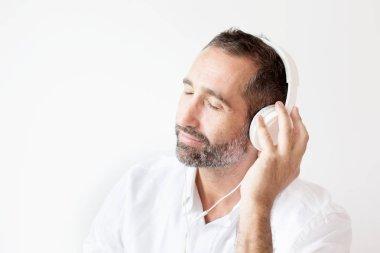 handsome bearded man with headphones