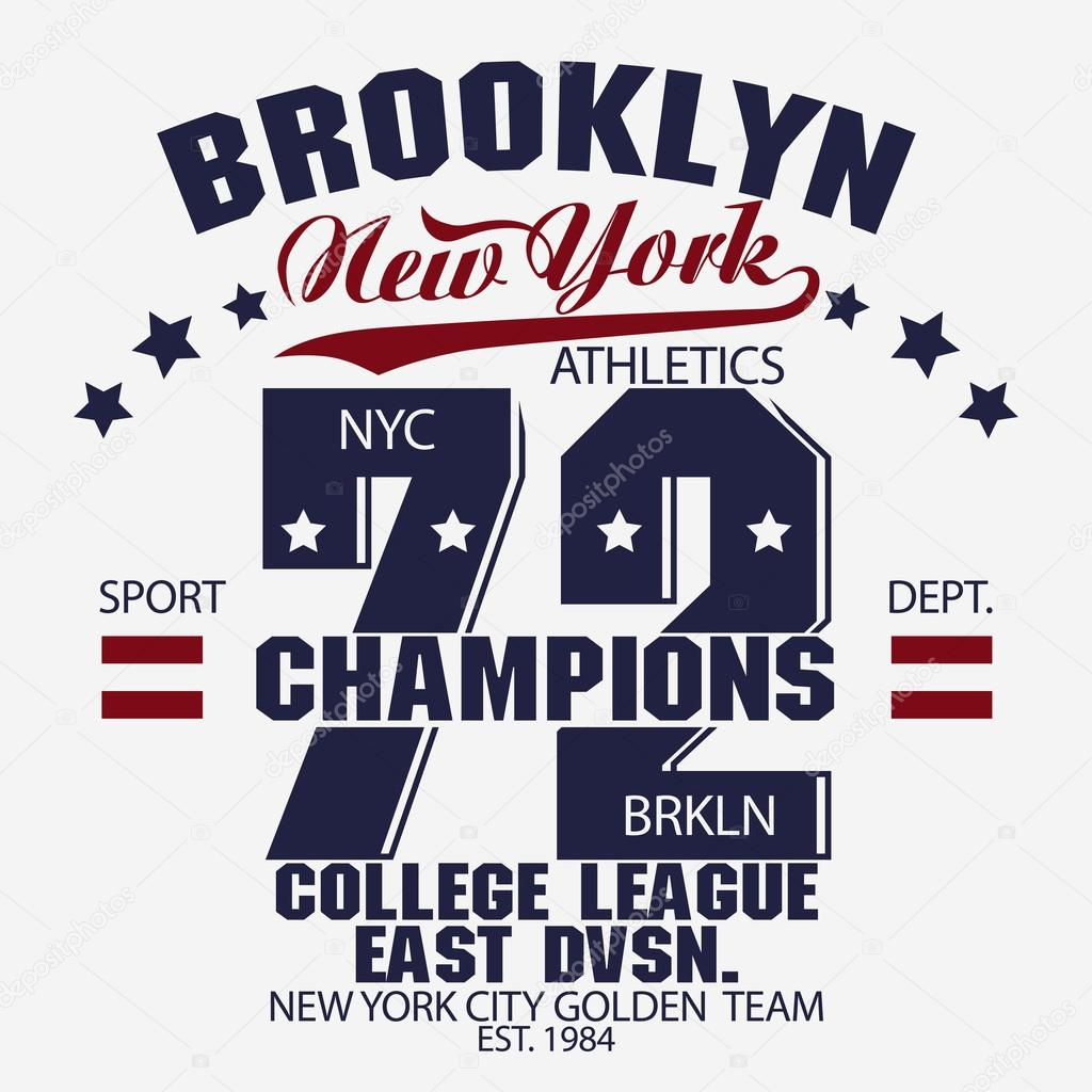 74cad4e8 New York Brooklyn Sport wear typography emblem, t-shirt stamp graphics,  vintage tee print, athletic apparel design — Vector by ...