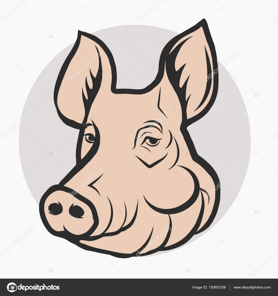 Cabeza de cerdo, carne de cerdo de la granja Logo — Archivo Imágenes ...
