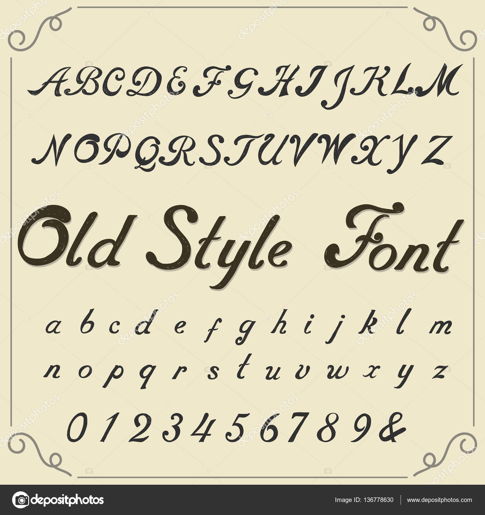 Vintage Alphabet Hand Drawn Font Stock Vector Ambassador80 136778630