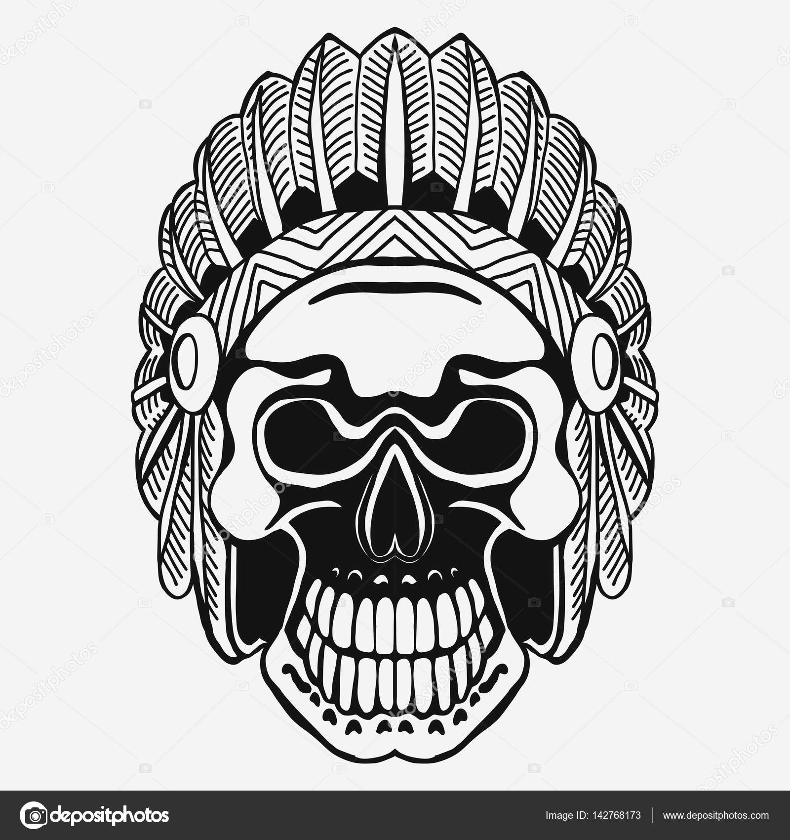 Indian Skull with Tribal feather Hat  Dead Chief — Stock Vector