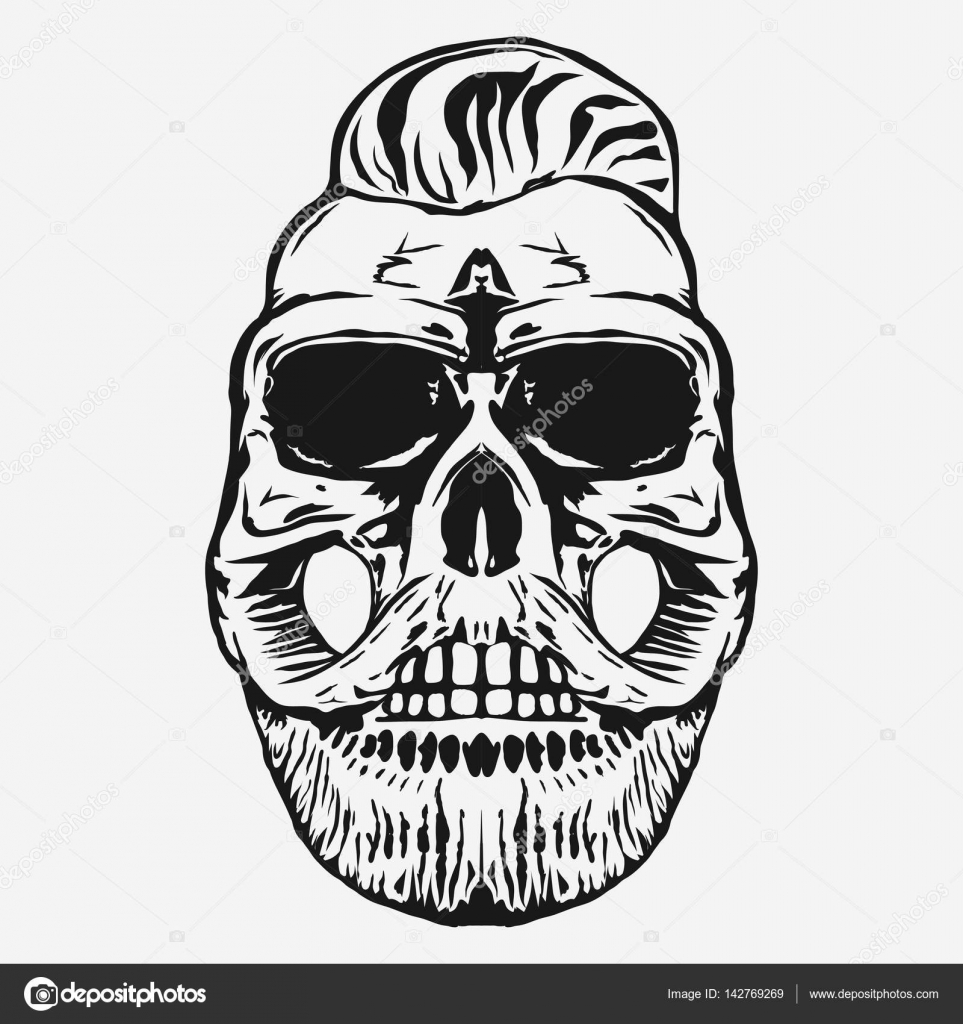 Hipster Skull With Beard And Mustache Vector Stock