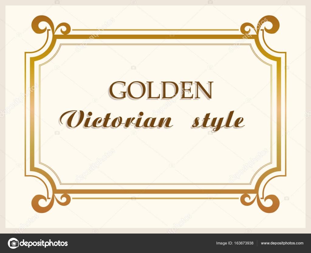 Goldrahmen Luxus viktorianisch, floral Grenze Dekoration. Vektor ...