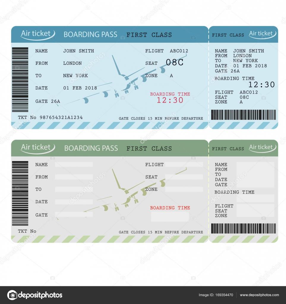 Luft-Ticket mit Barcode, Airline, die Bordkarte. Vektor ...
