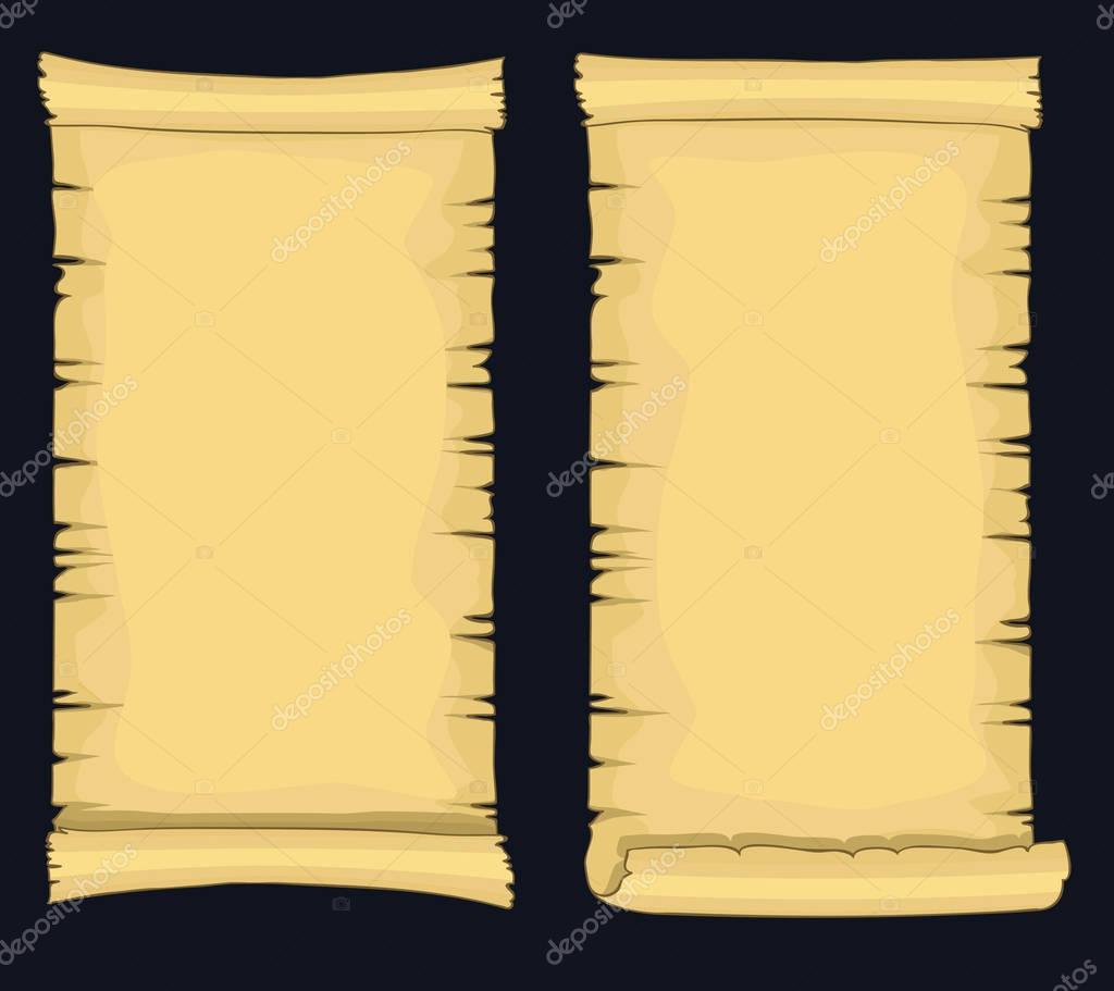 Papyrus-Schriftrollen, Alter leere Papierrolle, mittelalterliche ...